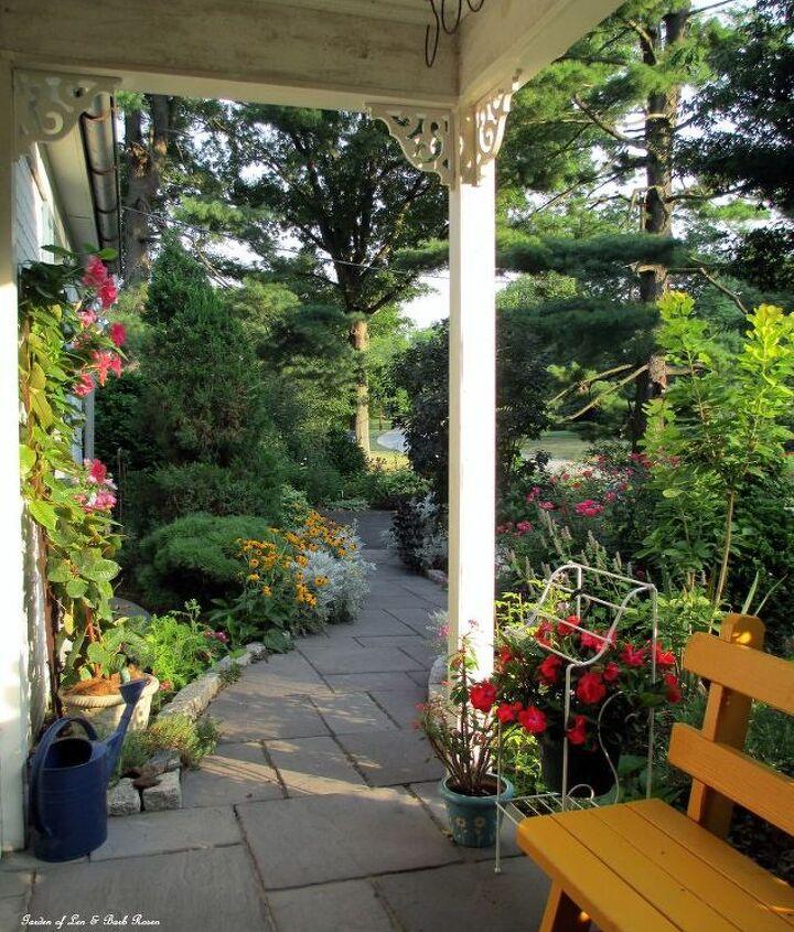 View from out porch swing. (Garden of Len & Barb Rosen) http://pinterest.com/barbrosen/our-fairfield-garden/