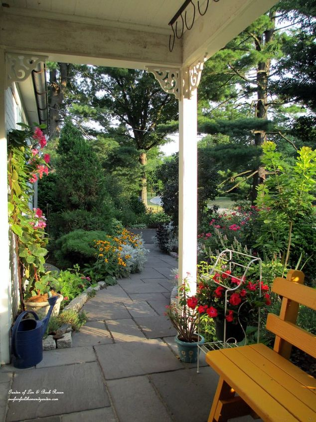 View from out porch swing. (Garden of Len & Barb Rosen) http://pinterest.com/barbrosen/our-fairfield-garden/