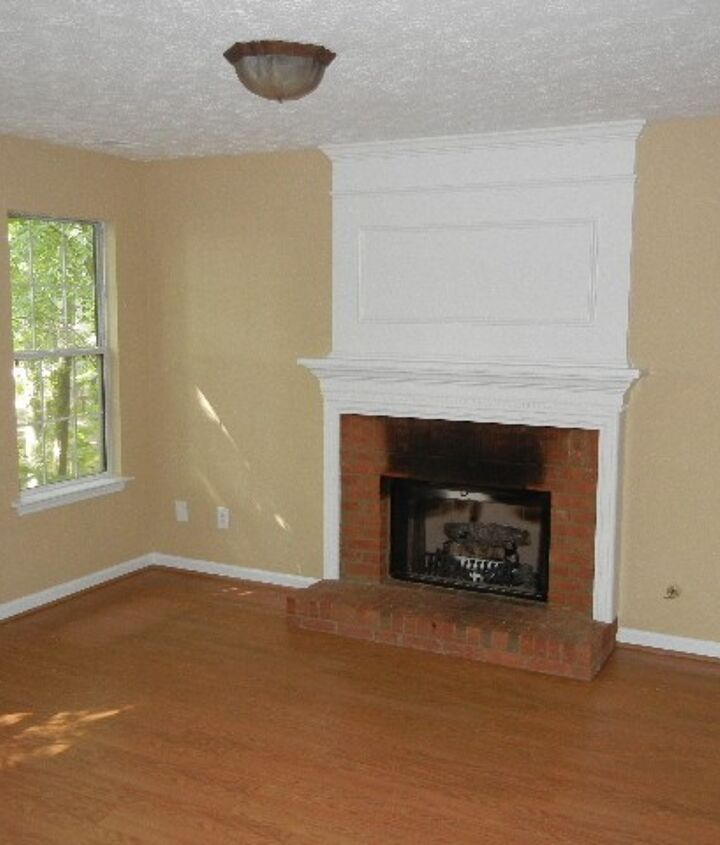 Family room- day one-before....burnt, ugly fireplace
