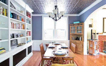 Fun dining room makeover with a tin ceiling!
