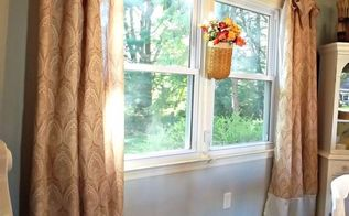 shower curtains turned dining room curtains, home decor, Shower curtains turned drapes