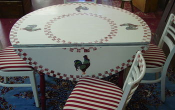 Found this table & chairs at a yard sale.....painted it & reupholstered the chairs