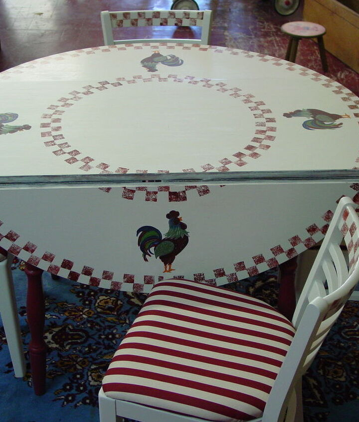 found this table amp chairs at a yard sale painted it amp reupholstered the, kitchen design, painted furniture