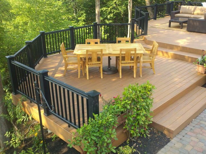 Tip: Plan your space, think of what you might use this part of your deck for. In this case, we have one level just for the outdoor dining table, the are other places for deep seating outdoor furniture, chaise lounges and the BBQ