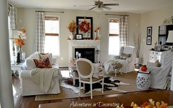home decor fall great room, fireplaces mantels, home decor, painted furniture, seasonal holiday decor