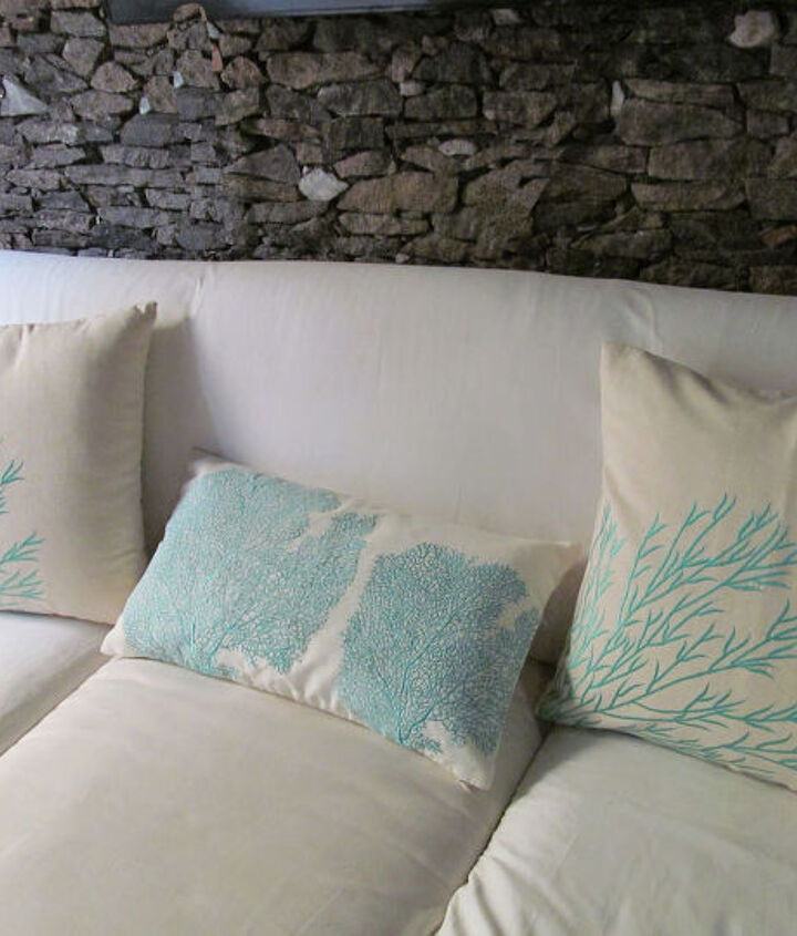 Coral branch and Coral fan embroidered boudoir pillow cover in aqua blue and white