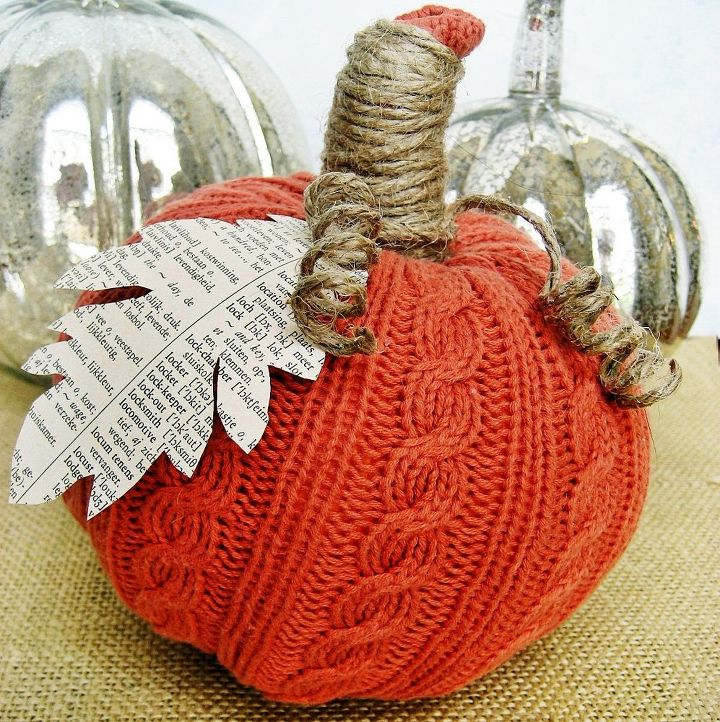 easy sweater pumpkins, crafts, decoupage, repurposing upcycling, Easy sweater pumpkins complete tutorial on my blog