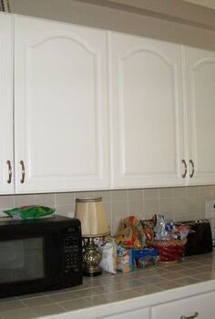 kitchen transformation from white to chocolate cabinets, kitchen cabinets, kitchen design, painting, Old white cabinets