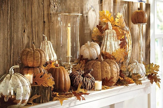Neutral Fall Mantle - See Other Great Decor Inspirations Here - http://blog.akatlanta.com/2012/09/fall-decor-5-fabulous-fall-mantles.html