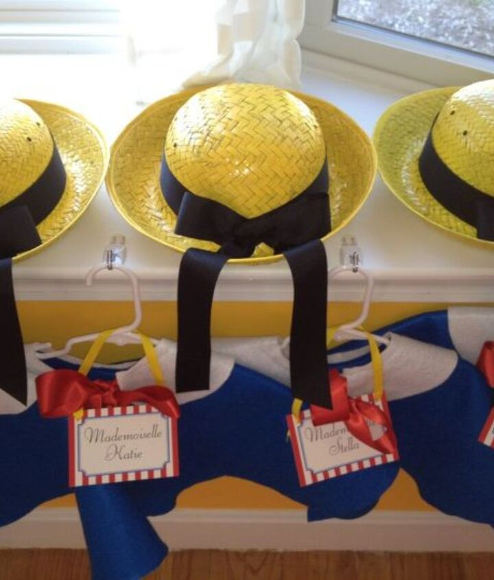 Madeline, Birthday, party, 4-year old, little girl, yellow hat, capelet, France, blue, red ribbon,