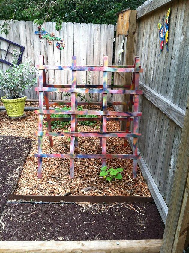 tye dye trellis, gardening, painting, My Tye Dye Trellis for my Zucchini