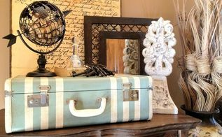thrift store suitcase up cycled with paint and wax, chalk paint, home decor, painting, repurposing upcycling, storage ideas