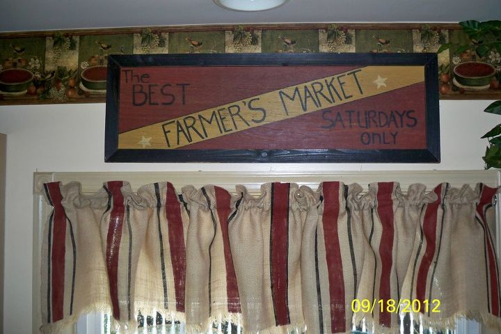 burlap window valance no sew but lots of paint, painting, reupholster, window treatments, MY INSPIRATION FARMERS MARKET SIGN See why I painted the red stripes See Why I decided to add the black stripe I thought I was all done Not Quite See the Mustard Stripe