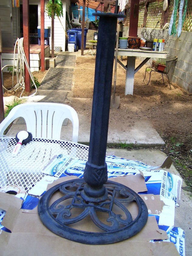 i love to do fused glass i made this bird bath then took an old cast iron bird bath, crafts, outdoor living, Ugly old thing