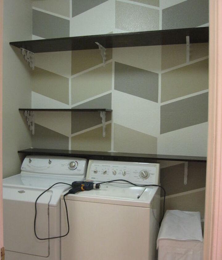 Installing DIY Shelves in Laundry Room