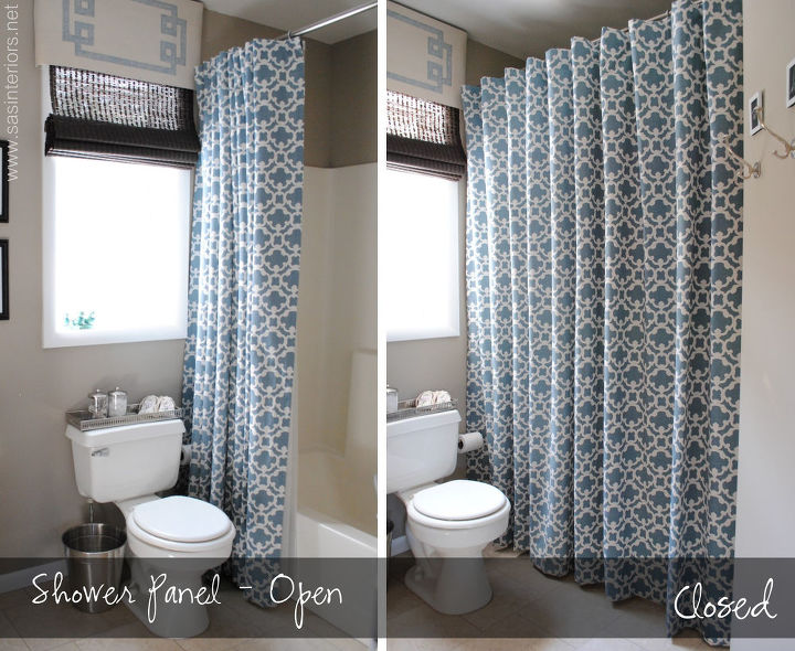It opens and closes the same way a shower curtain would!