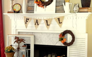 fall mantel with reclaimed pallet wood, doors, seasonal holiday decor, Fall mantel loved decorating the hearth this year too