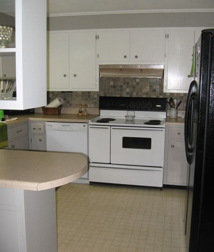 Our newly painted 1960s kitchen.