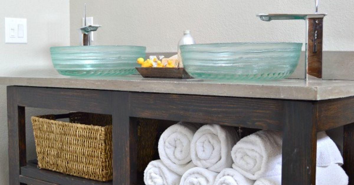 Build An Open Shelf Bathroom Vanity Hometalk