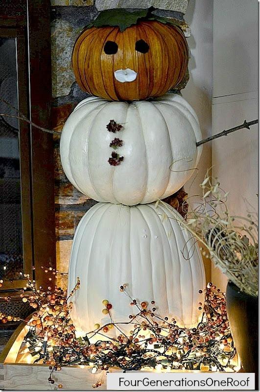 snowman pumpkin, crafts, seasonal holiday decor, Snowman Pumpkin