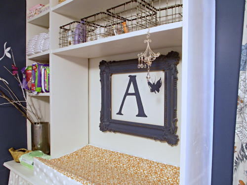 girls nursery reveal, bedroom ideas, home decor, repurposed thrift store picture frame above changing table