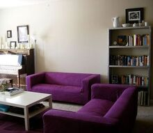 rit dyeing ikea slip covered sofa klippan, crafts, reupholster, window treatments, RIT dyed purple IKEA sofas