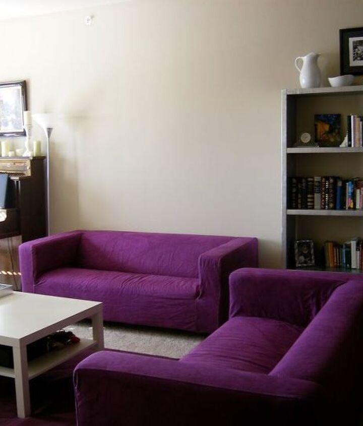 RIT dyed purple IKEA sofas