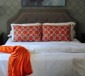 Gray And Orange Master Bedroom Makeover, Bedroom Ideas, Home Decor, Wall  Decor