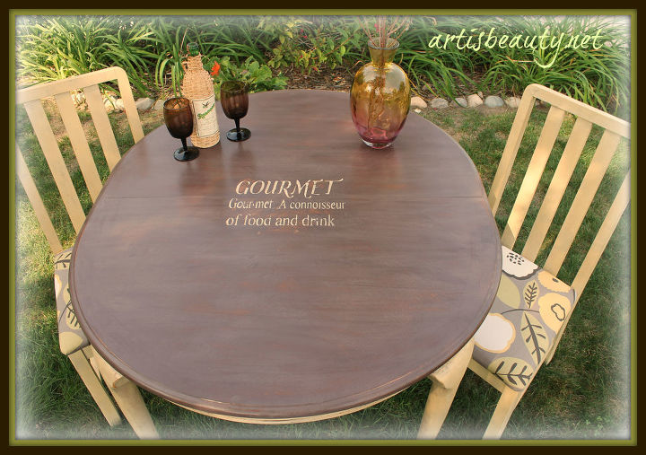 goodwill table and chairs turned gourmet, home decor, painted furniture, The after
