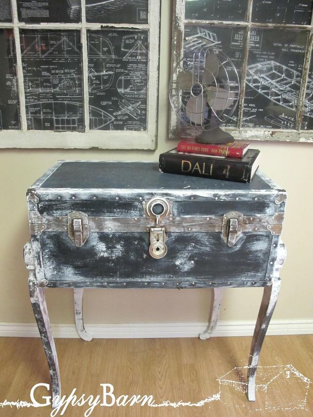 what are those fabulous legs you ask the knock knee trunk table, home decor, repurposing upcycling, Here she is strutting her stuff Pop by our facebook page at and see more