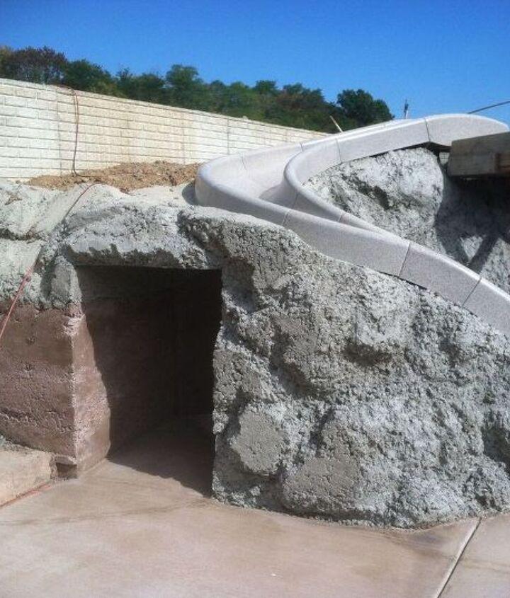 pool surround coal mine, diy, outdoor living, pool designs