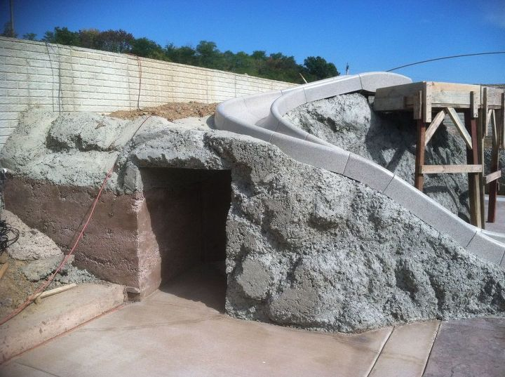 pool surround coal mine, diy, outdoor living, pool designs