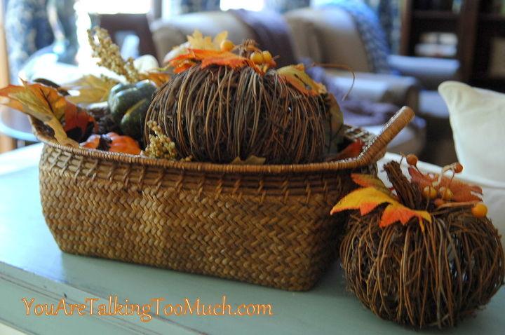Thrifted baskets. Add some pumpkins!