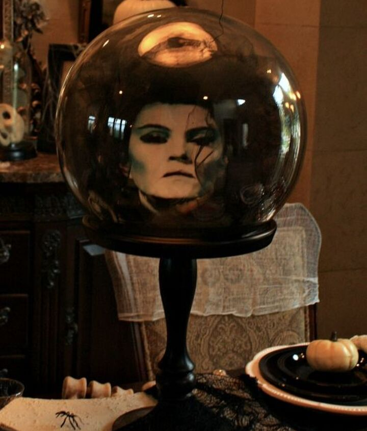 Haunted Mansion Crystal Ball created with Tulle and a printed photo.