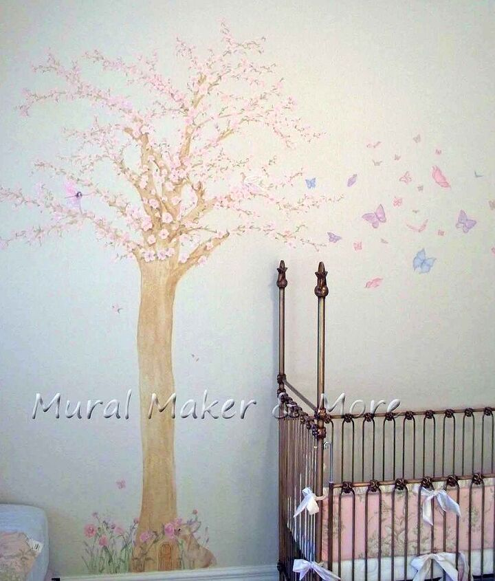 cherry blossom tree mural in baby girl s room, bedroom ideas, home decor