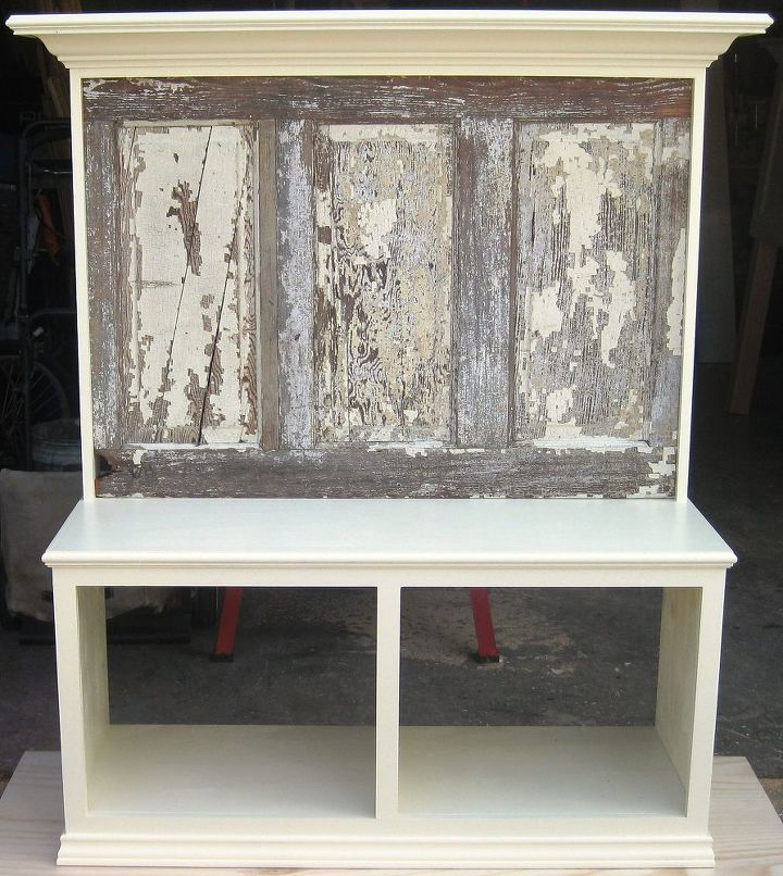 bench seat made using a 90 yr old door with crown molding supported shelf, painted furniture, repurposing upcycling, shabby chic, Bench seat made by Vintage Headboards made using a 90 yr old 5 panel door finished in satin Popcorn White Call us at 972 668 2603
