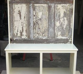 Bench Seat Made Using A 90 Yr Old Door With Crown Molding Supported Shelf,  Painted