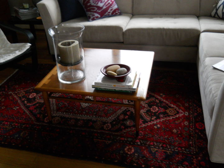 Living rm. with vintage mid-century modern coffee table. I love this, so it's non-negotiable!
