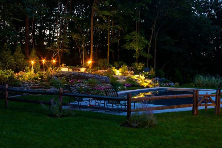 reclaim your land, landscape, outdoor living, ponds water features, Nightime comes alive with Tiki torches