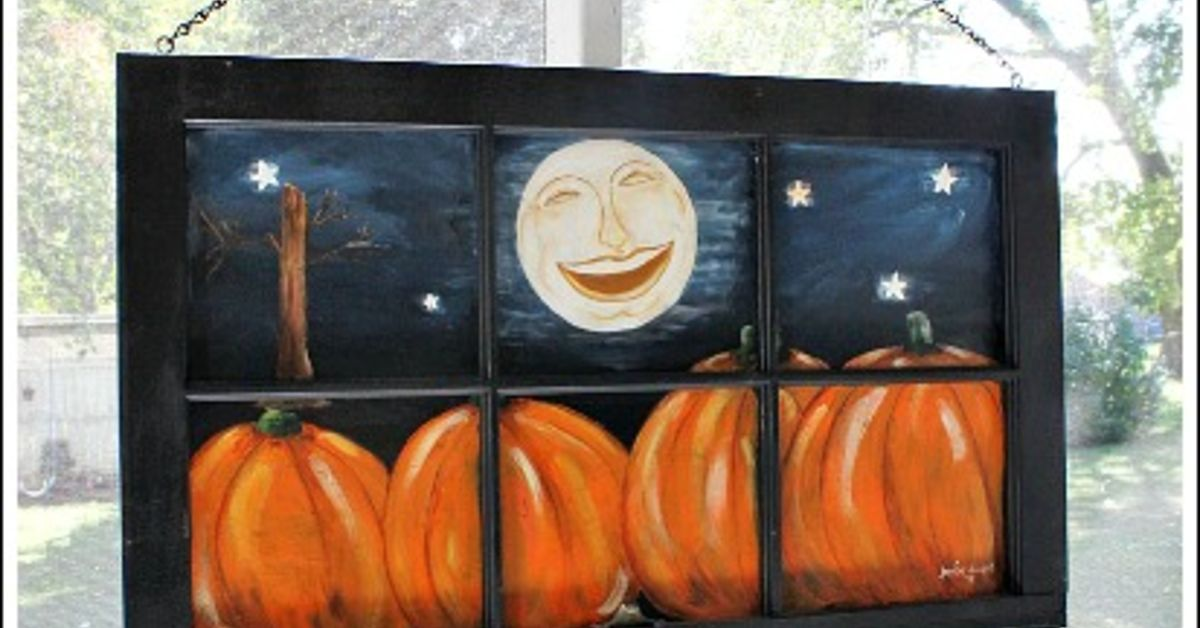 Old Window Painted With A Fall Scene Hometalk