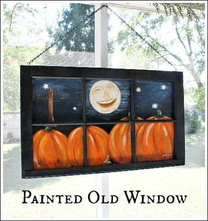 Old Window Painted With A Fall Scene Repurposing Upcycling Seasonal Holiday Decor