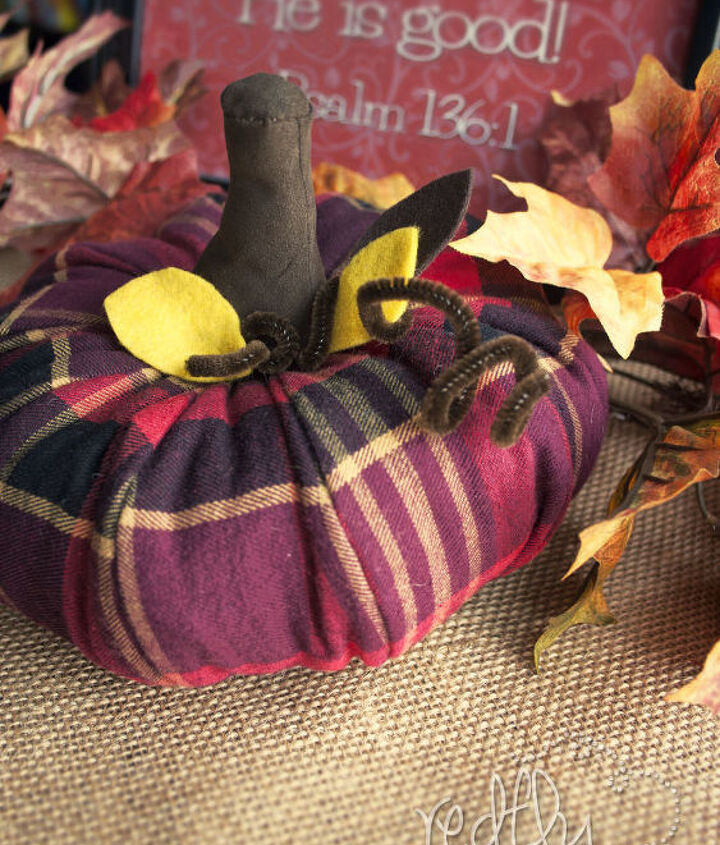 flannel pumpkin, crafts, repurposing upcycling, seasonal holiday decor