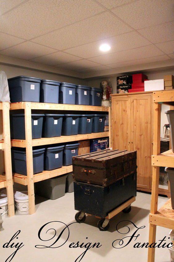 This is what your storage room could look like with easy to make and inexpensive shelves.