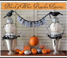 halloween decor black amp white pumpkin topiaries, halloween decorations, seasonal holiday d cor