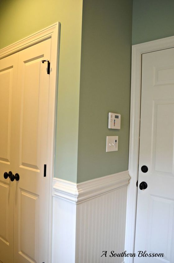 Laurel Mist By Behr Paints And Beadboard Wallpaper Allen Roth Added To The Garage