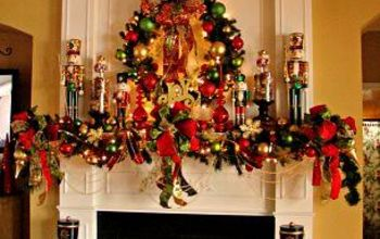 christmas on my mind, christmas decorations, fireplaces mantels, seasonal holiday decor, For a few years vibrant seasonal colors huge satin bows gold beaded garland and nutcrackers galore graced our holiday fireplace