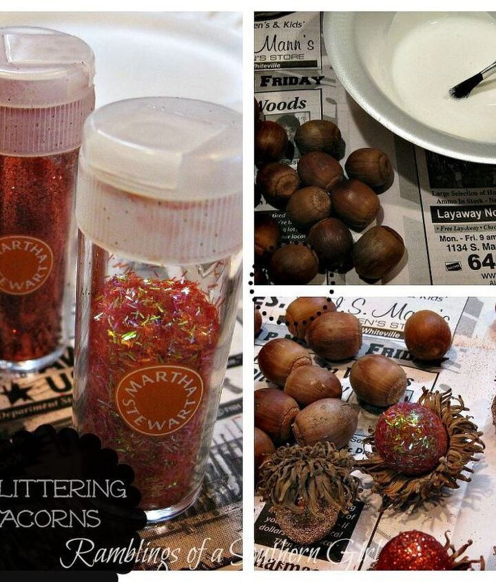 Adding Bling to your Fall Decor with Glittered Acorns, using Martha Stewart Glitter and Mod-Podge.