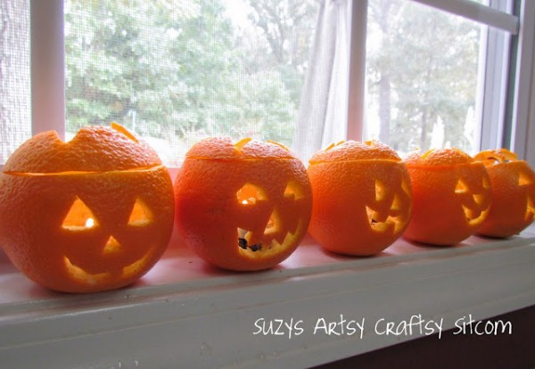 scented jack o lantern tea lights, halloween decorations, seasonal holiday d cor, Scented Jack O Lantern Tealights Suzys Artsy Craftsy Sitcom Halloween home suzy6281