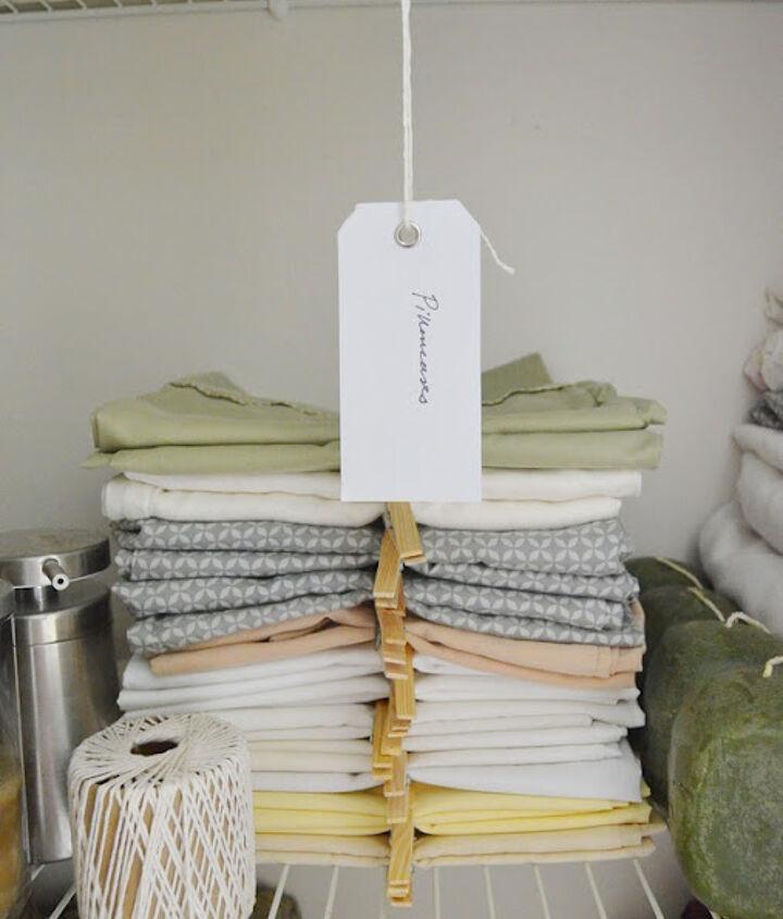 linens, linen closet, amy renea, a nest for all seasons, clothespins, tags, organize, closet, pillowcases, sheets