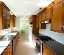 a galley kitchen makeover, home decor, kitchen backsplash, kitchen design, After New flooring appliances granite counter tops tile backsplash paint and electrical and plumbing fixtures were provided to make this kitchen more functional and up to date